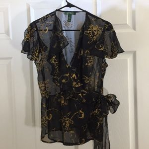 Lauren black/gold sheer wrap blouse